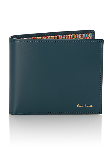 Teal signature stripe wallet