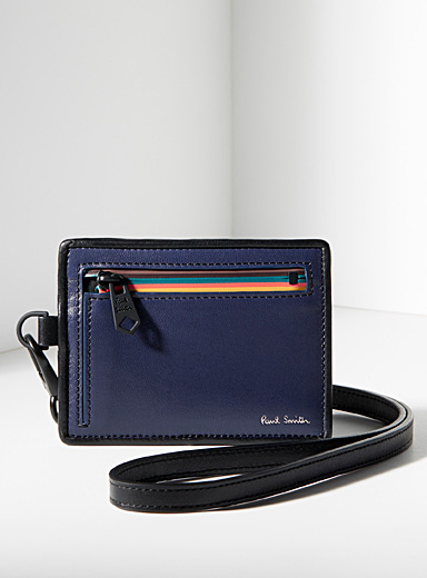 Paul Smith Blue Navy zipped strap pouch for men