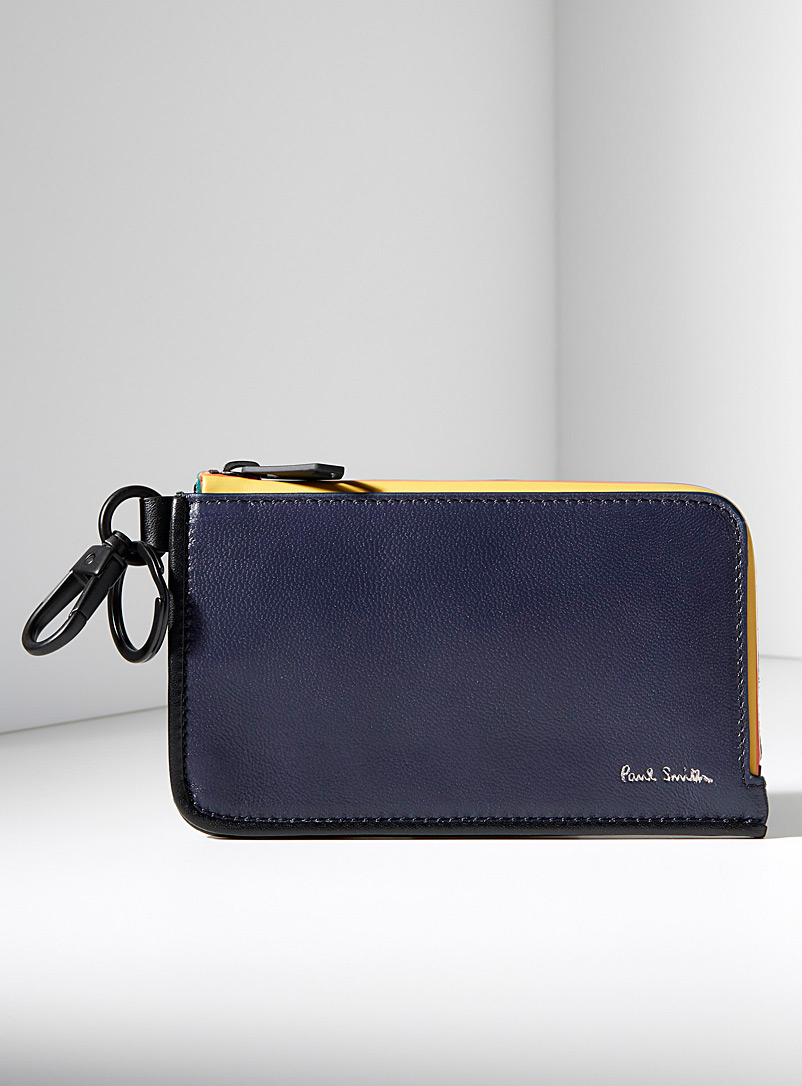 Paul Smith Blue Striped zip navy pouch for men