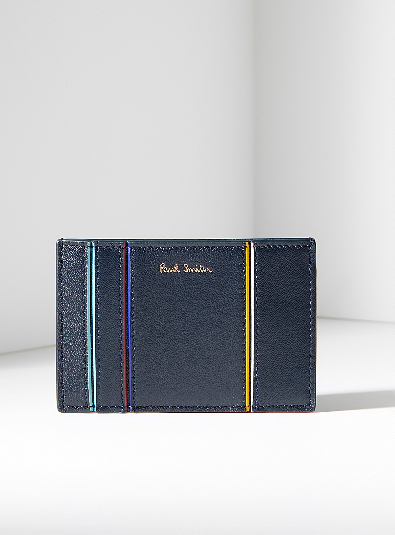 Paul Smith Blue Navy painted edge leather card holder for men