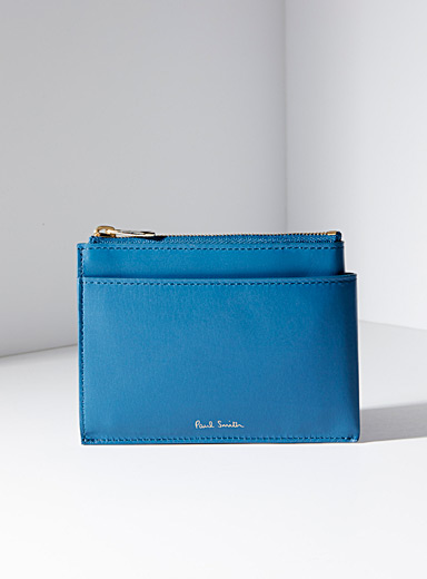 Paul Smith Blue Teal zip card holder for men