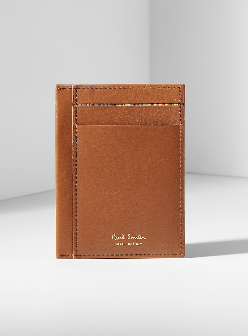 Gold etching brown leather card holder