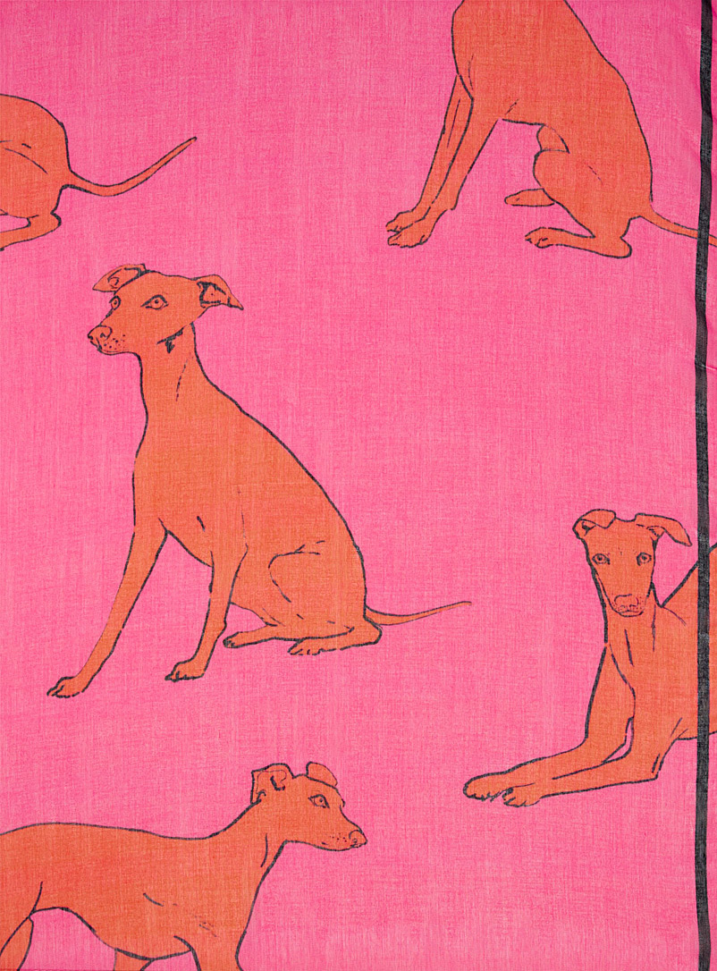 PS Paul Smith Pink Italian Greyhound scarf for women