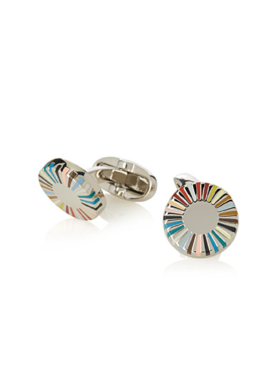 Striped round cufflinks