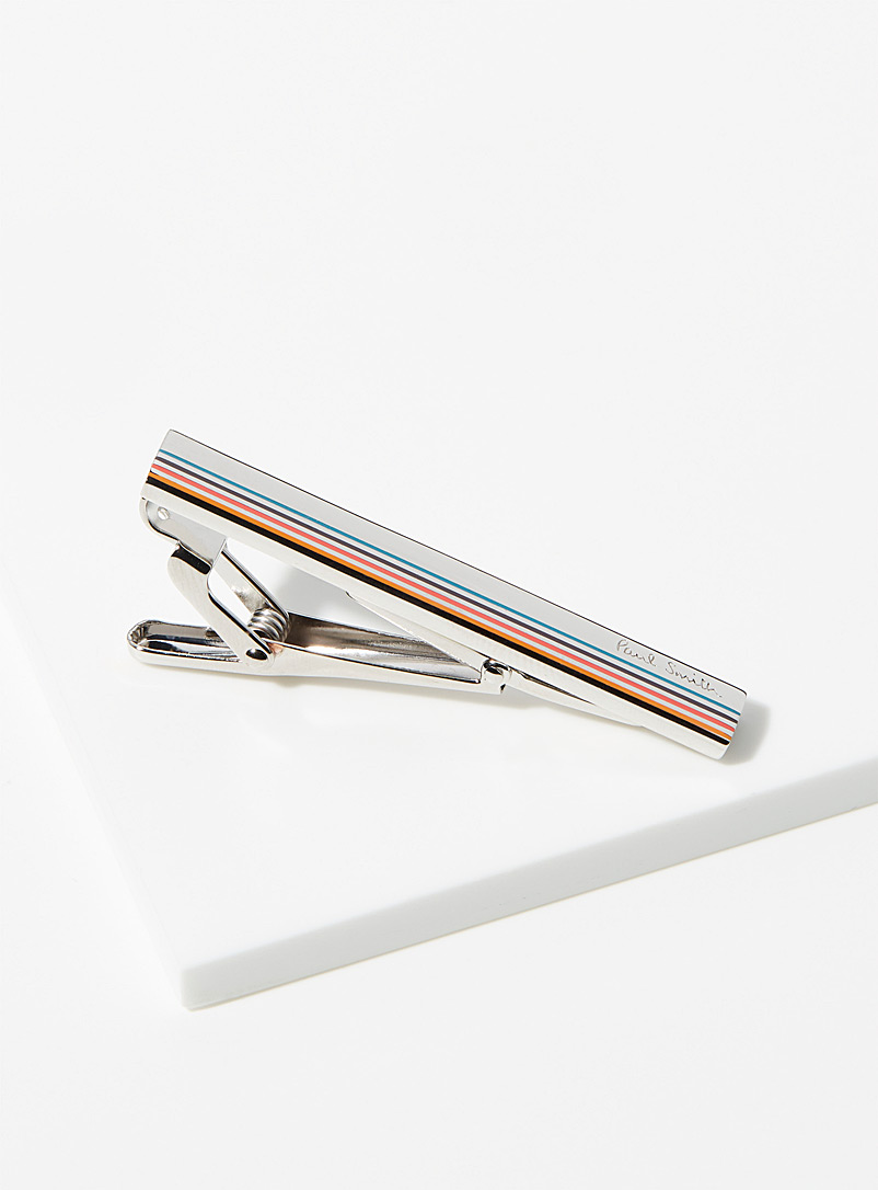 Paul Smith Silver Thin stripe tie clip for men