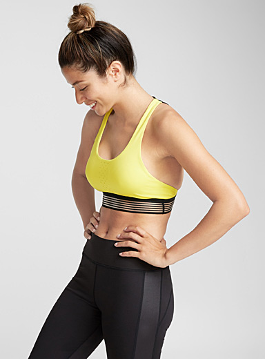 Graphic-back perforated bra