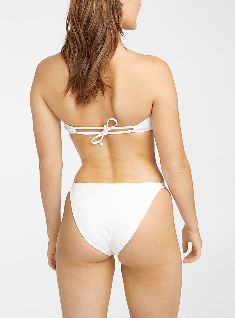 Simons Ivory White Tie-back textured bandeau bikini top for women