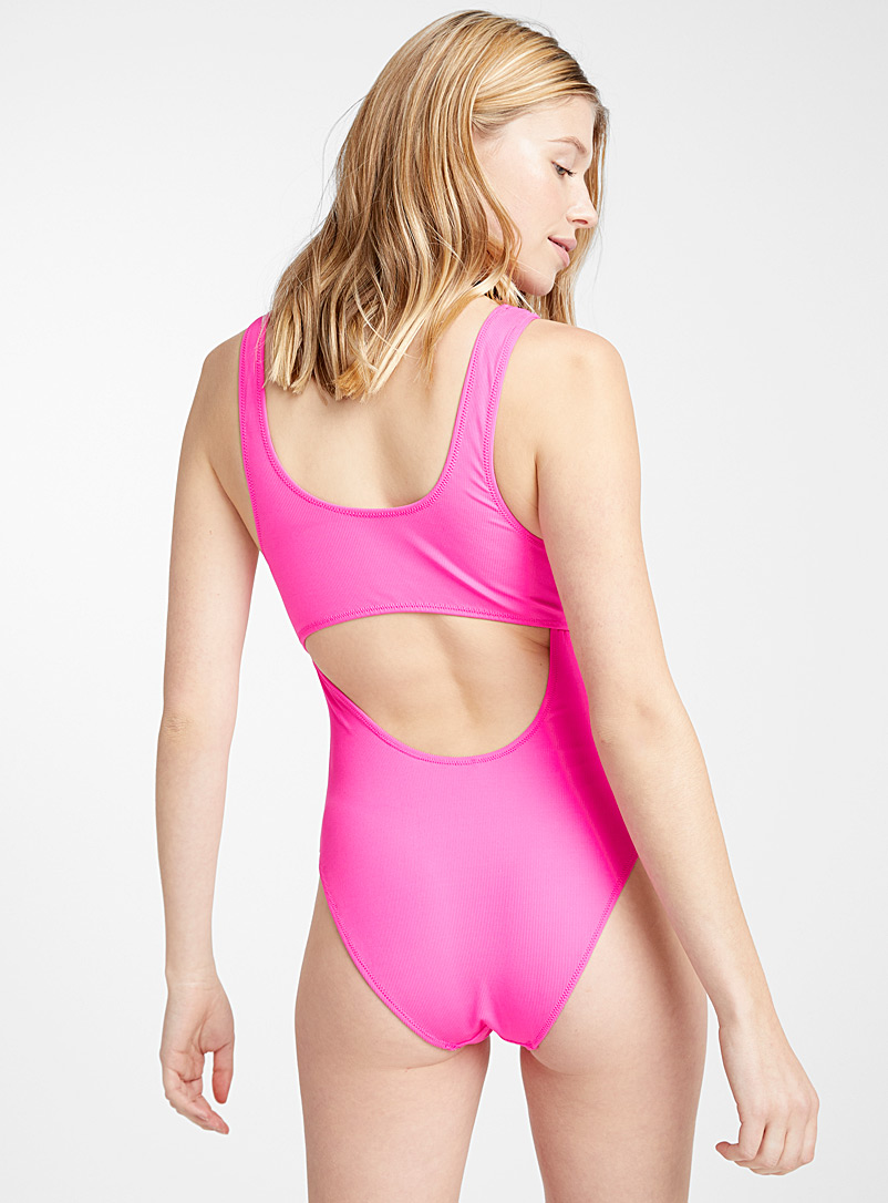Textured double cutout one-piece - All Our Swimsuits - Medium Pink