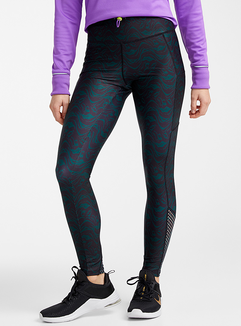 I.FIV5 Patterned Black Toggle waist laser legging for women