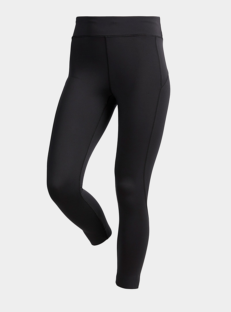 I.FIV5 Black Recycled accent seam cropped legging for women