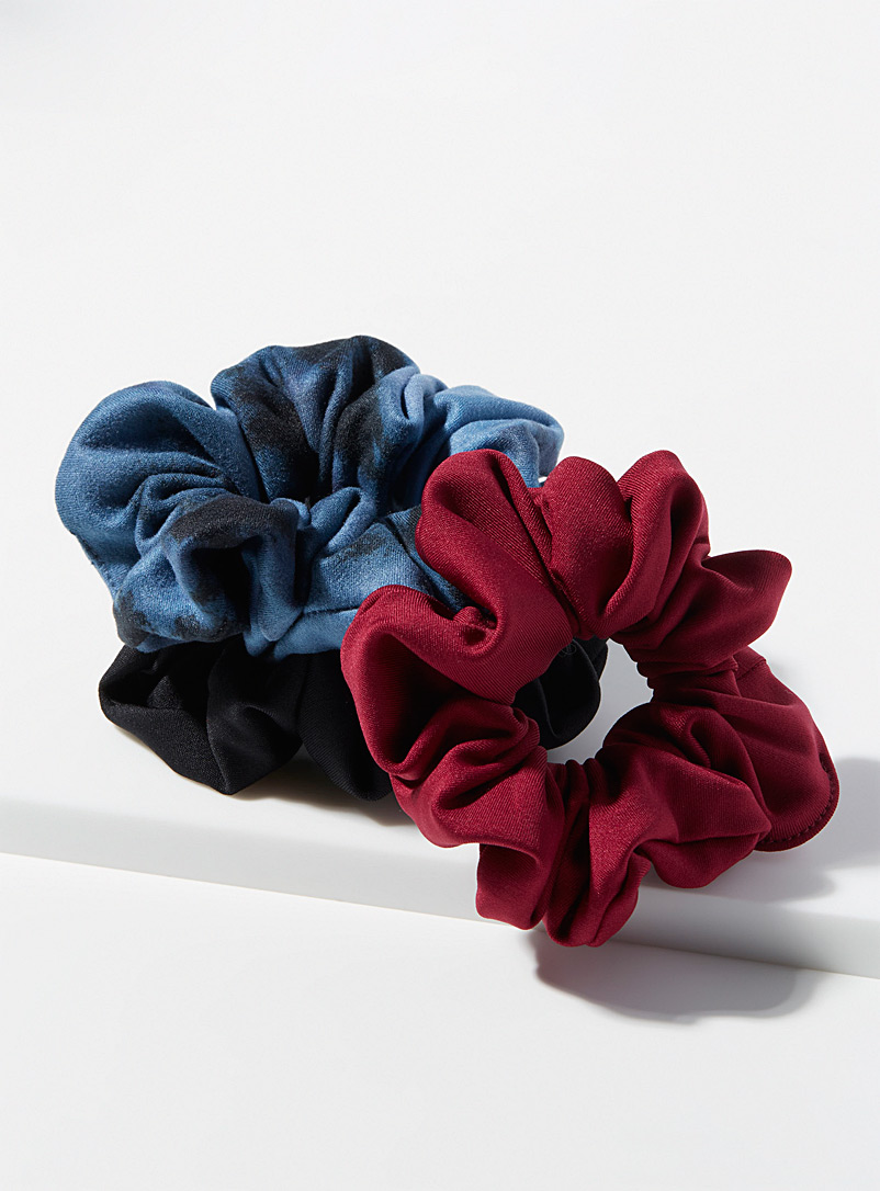 I.FIV5 Black Recycled scrunchie Set of 3 for women