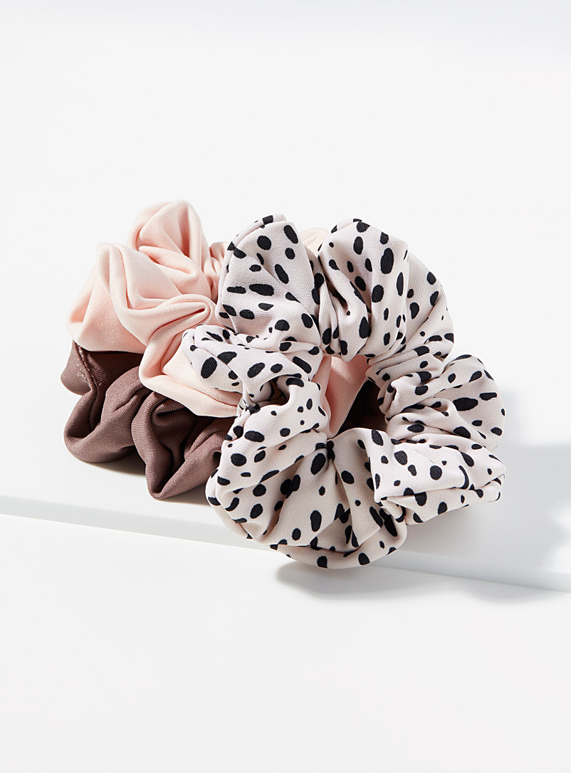 I.FIV5 Patterned Ecru Recycled scrunchie Set of 3 for women
