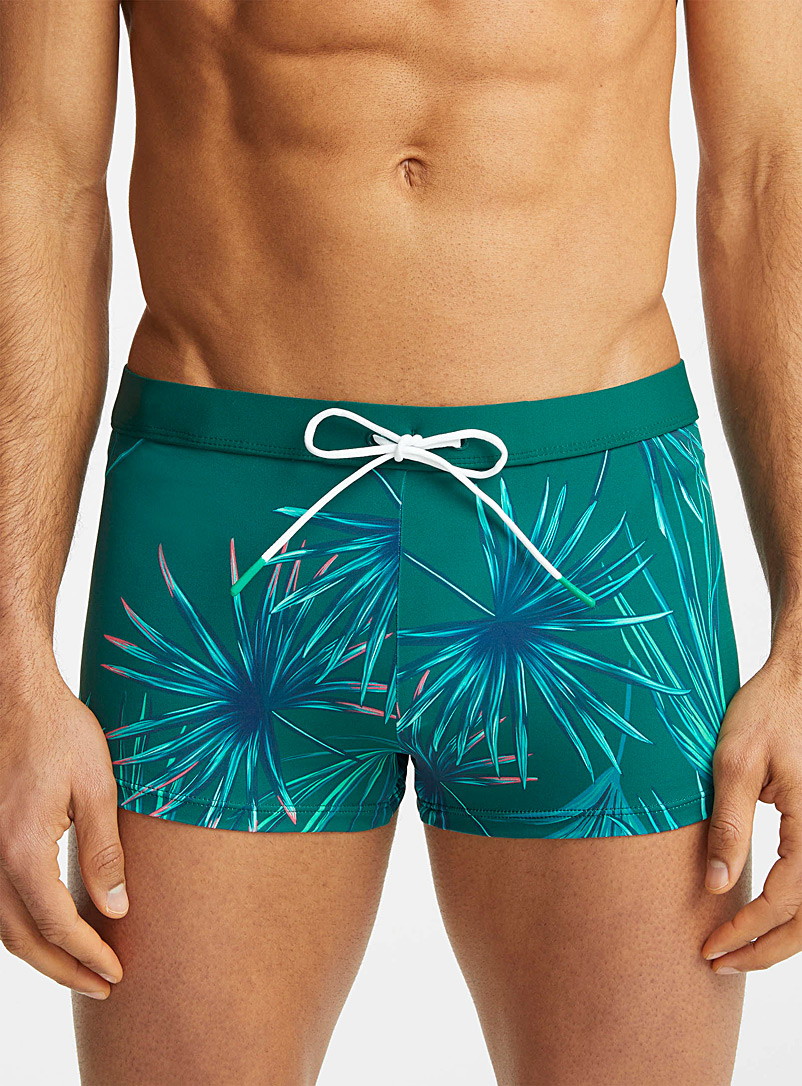 I.FIV5 Patterned Green Printed recycled polyester fitted swim trunk for men