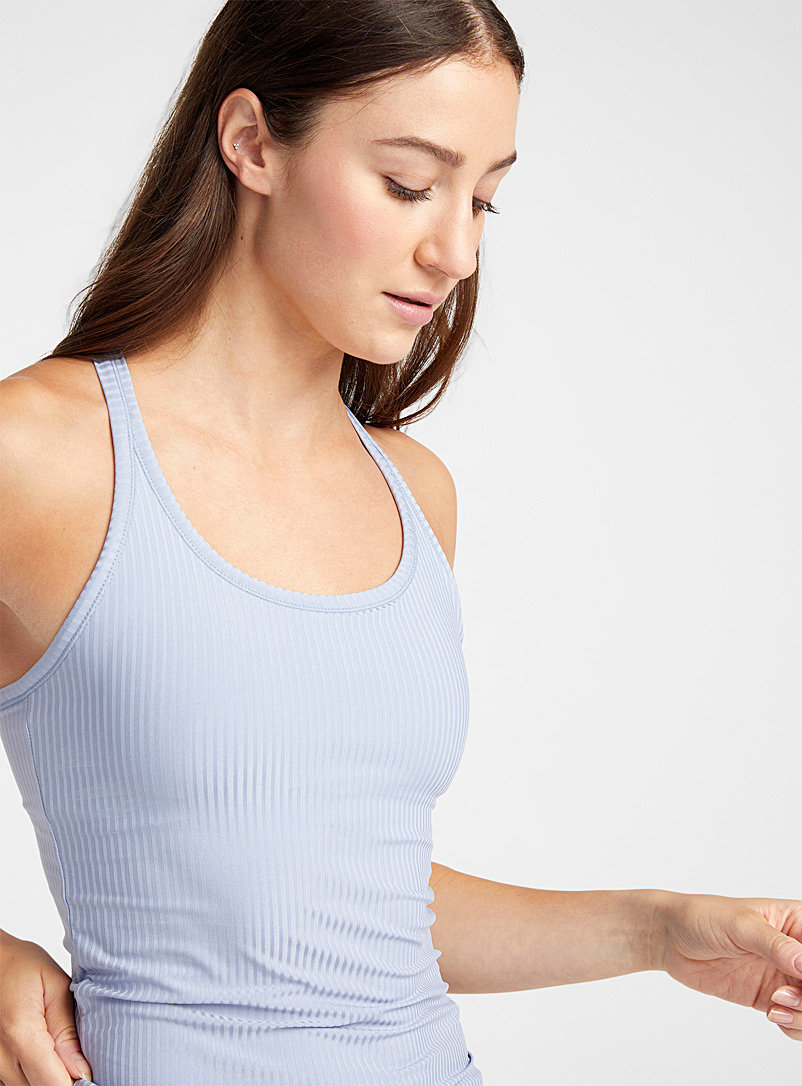 I.FIV5 Baby Blue Tilia ribbed support tank for women