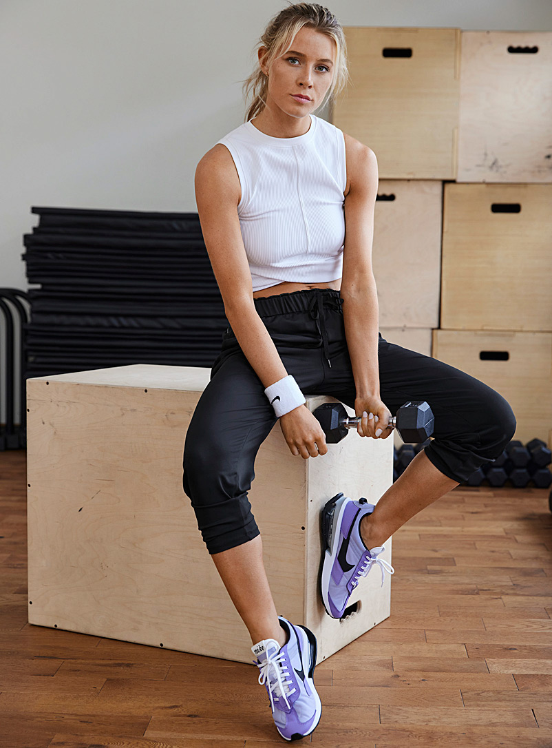 I.FIV5 Black Soft and satiny woven pant for women