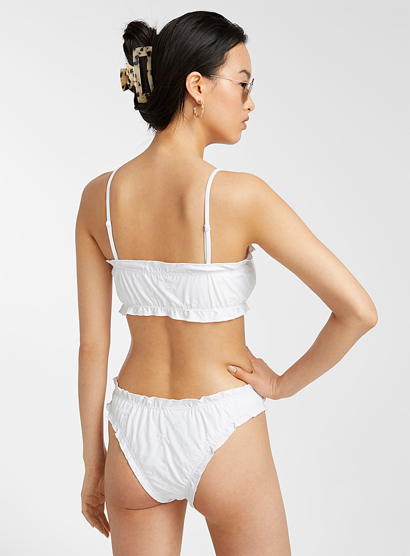Simons White Broderie anglaise gathered cheeky bottom for women