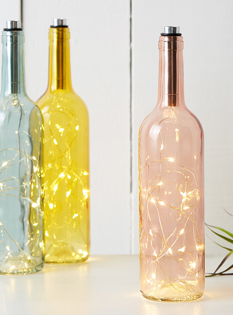 Coloured glass bottle lantern - Ambient Lighting - Pink