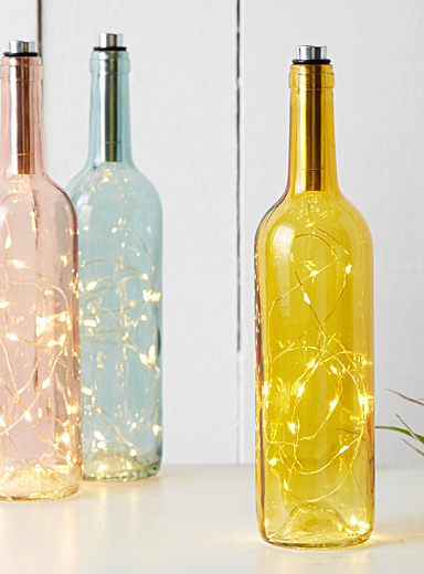Coloured glass bottle lantern