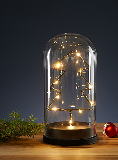 Illuminated tree glass bell