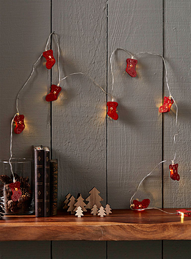 Christmas stockings string lights
