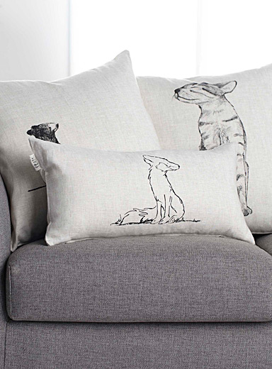"Linen Mr. Fox cushion  11"" x 21"""