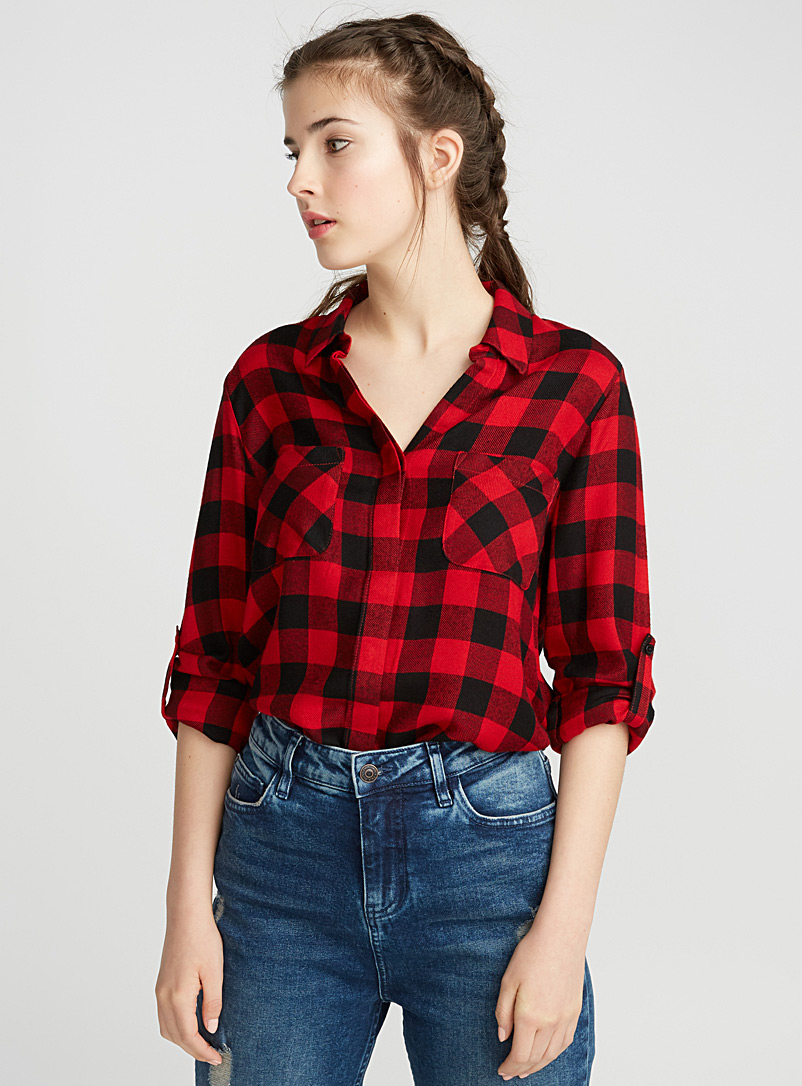 Checkered stripe shirt - Casual - Red
