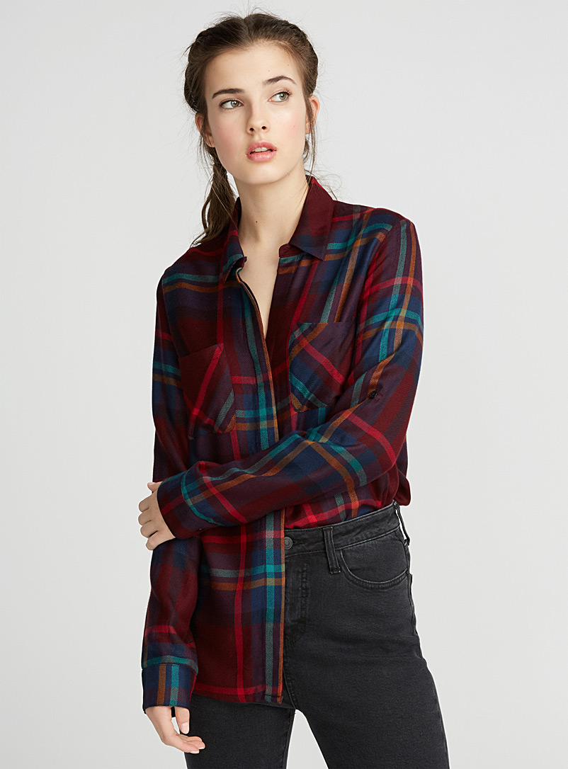 Checkered stripe shirt - Casual - Ruby Red