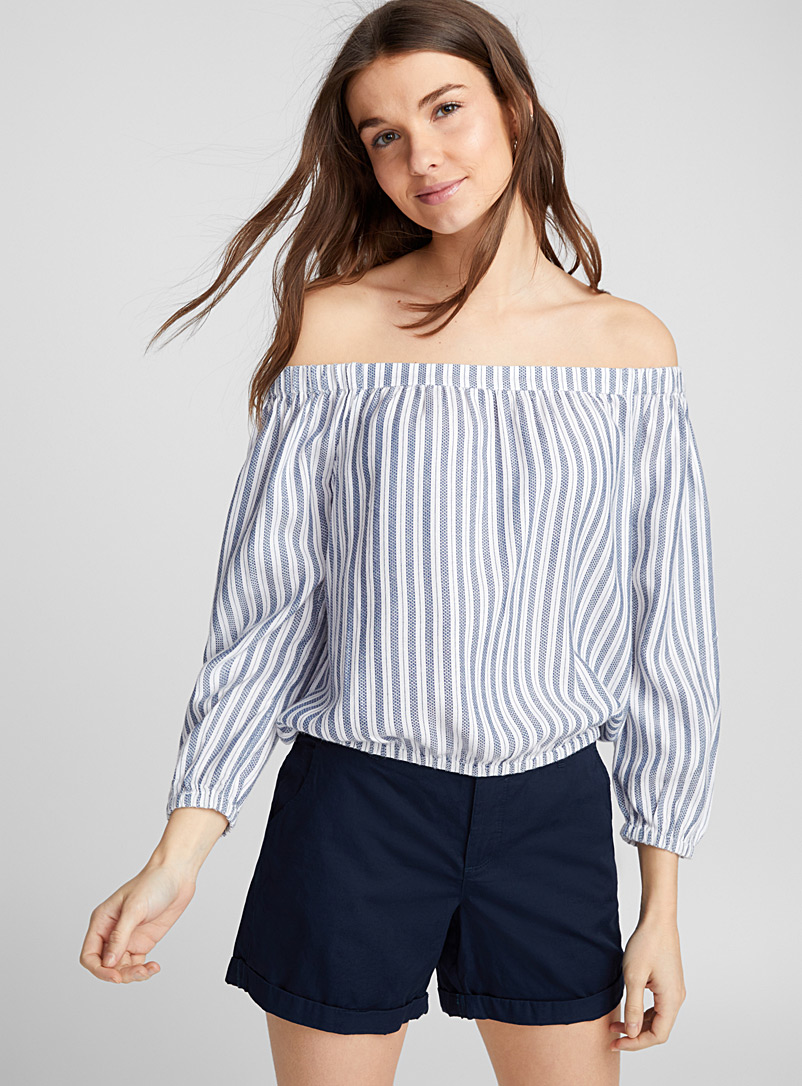 Off-the-shoulder cropped blouse - Blouses - Marine Blue