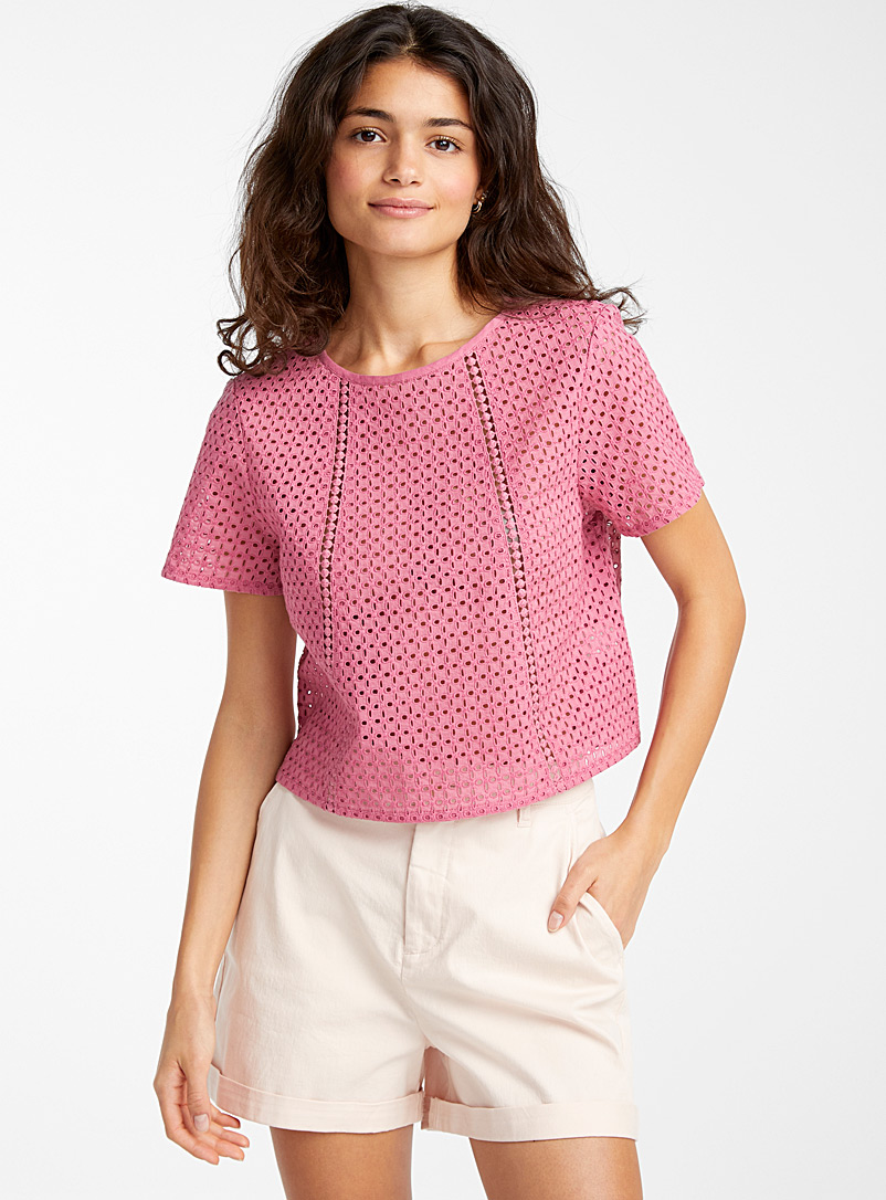 Twik Medium Pink Loose broderie anglaise blouse for women