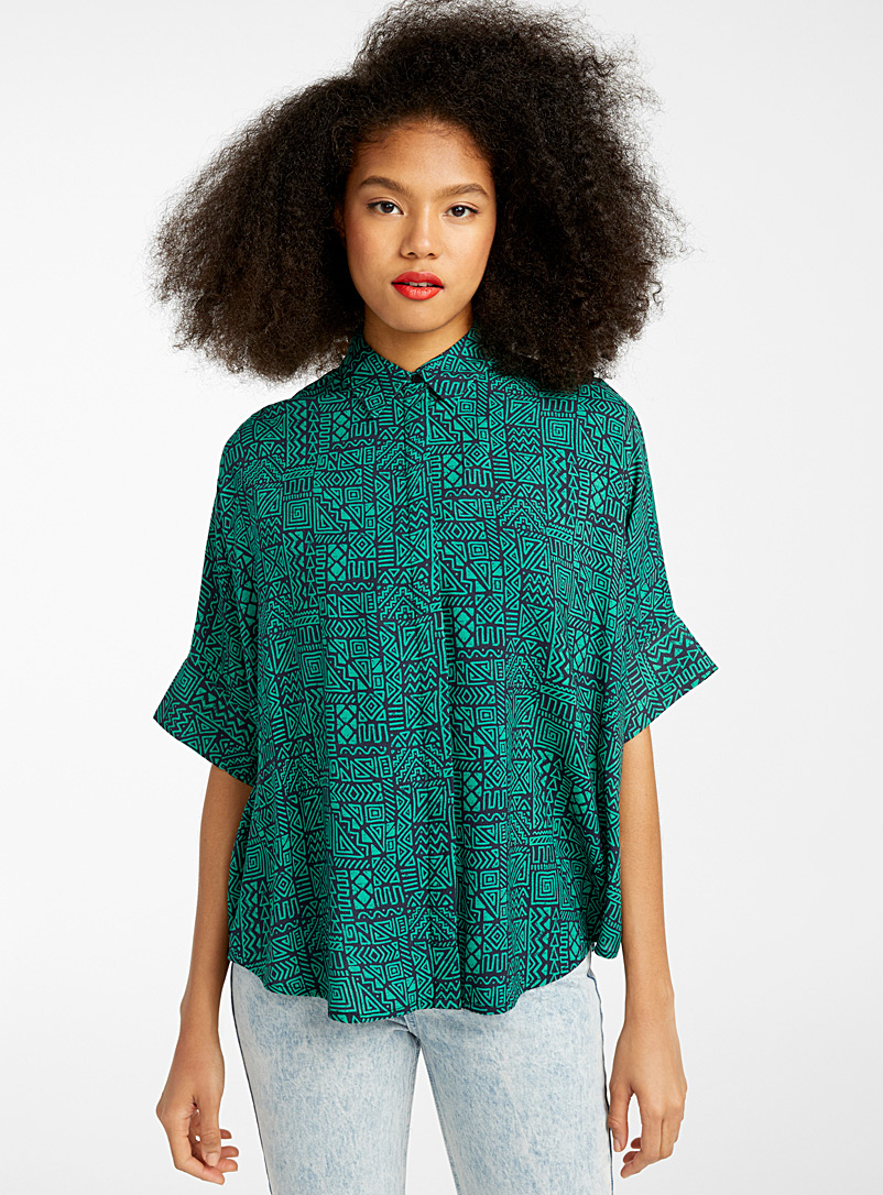 Twik Patterned Green Loose dolman-sleeve shirt for women