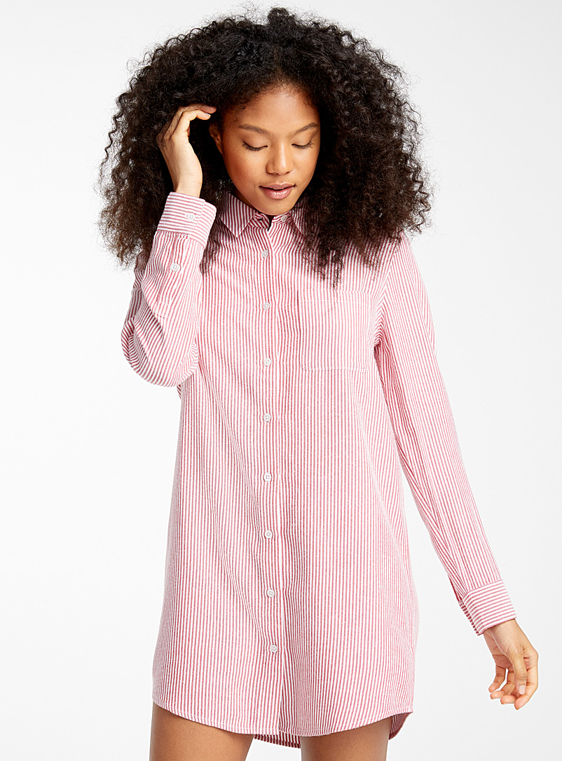 Miiyu x Twik Patterned Red Candy stripe nightshirt for women