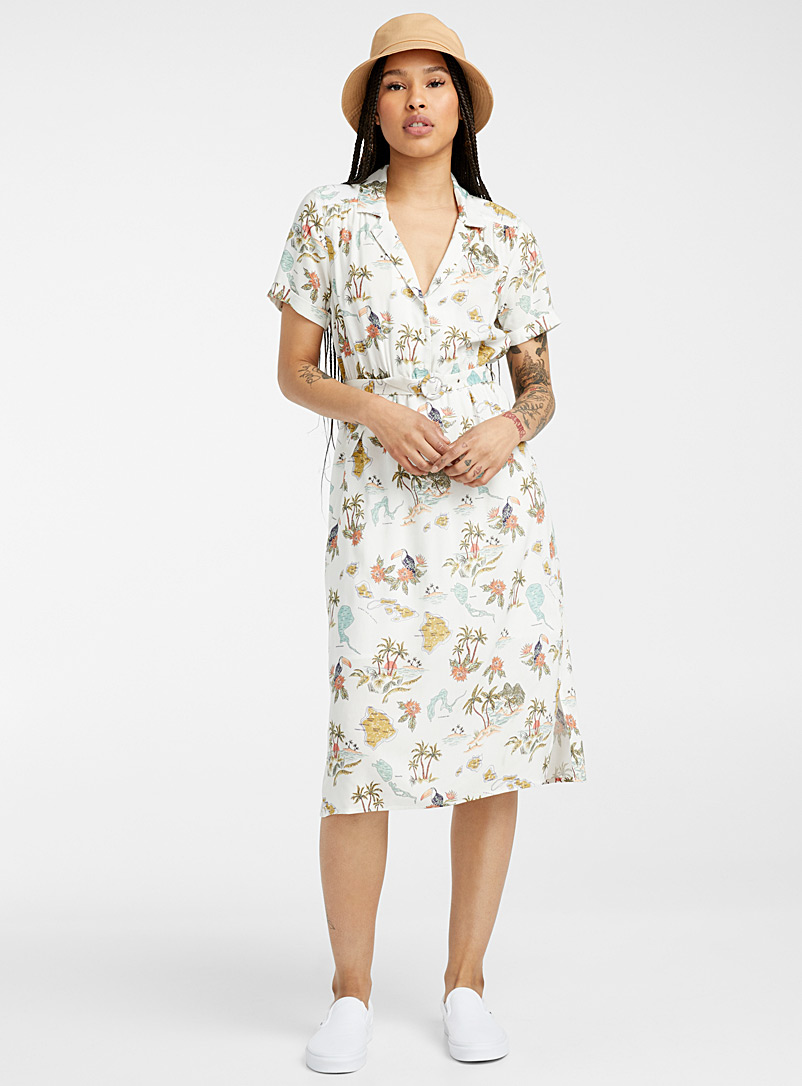 Twik Patterned White Belted retro midi dress for women