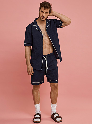 Piped seersucker pyjama short