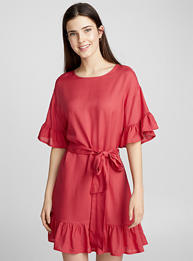 Ruffle tie-waist dress