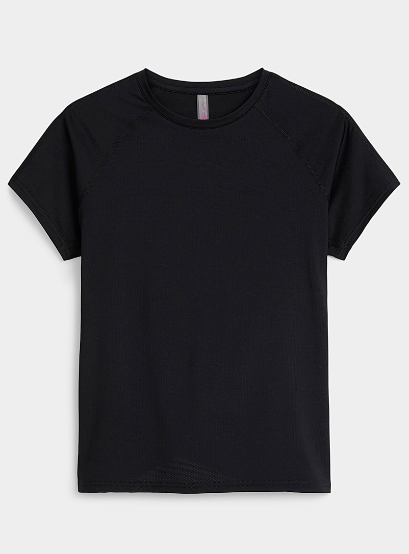 I.FIV5 Black Abies micro-perforated tee for women
