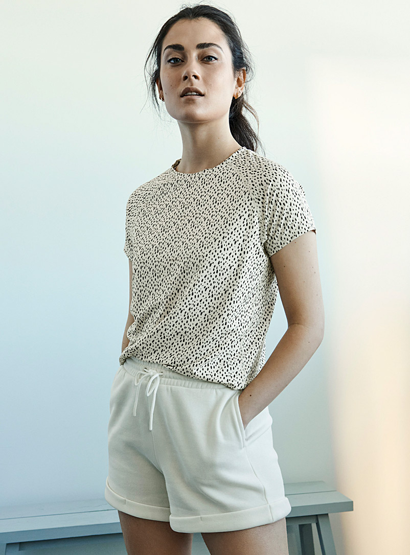 I.FIV5 Patterned Ecru Abies micro-perforated tee for women
