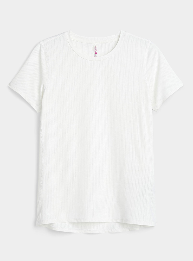 I.FIV5: Le t-shirt ample filet Bloom Blanc pour femme