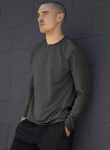 I.FIV5 Green Long-sleeve recycled fibre T-shirt for men