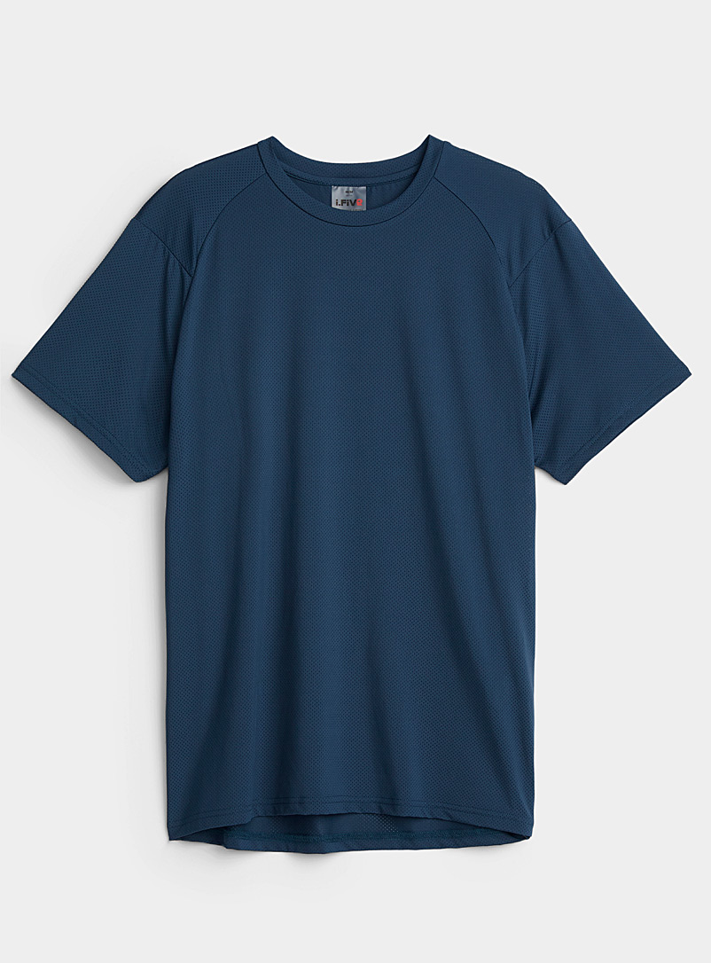 I.FIV5 Dark Blue Micro-perforated raglan sleeve T-shirt for men