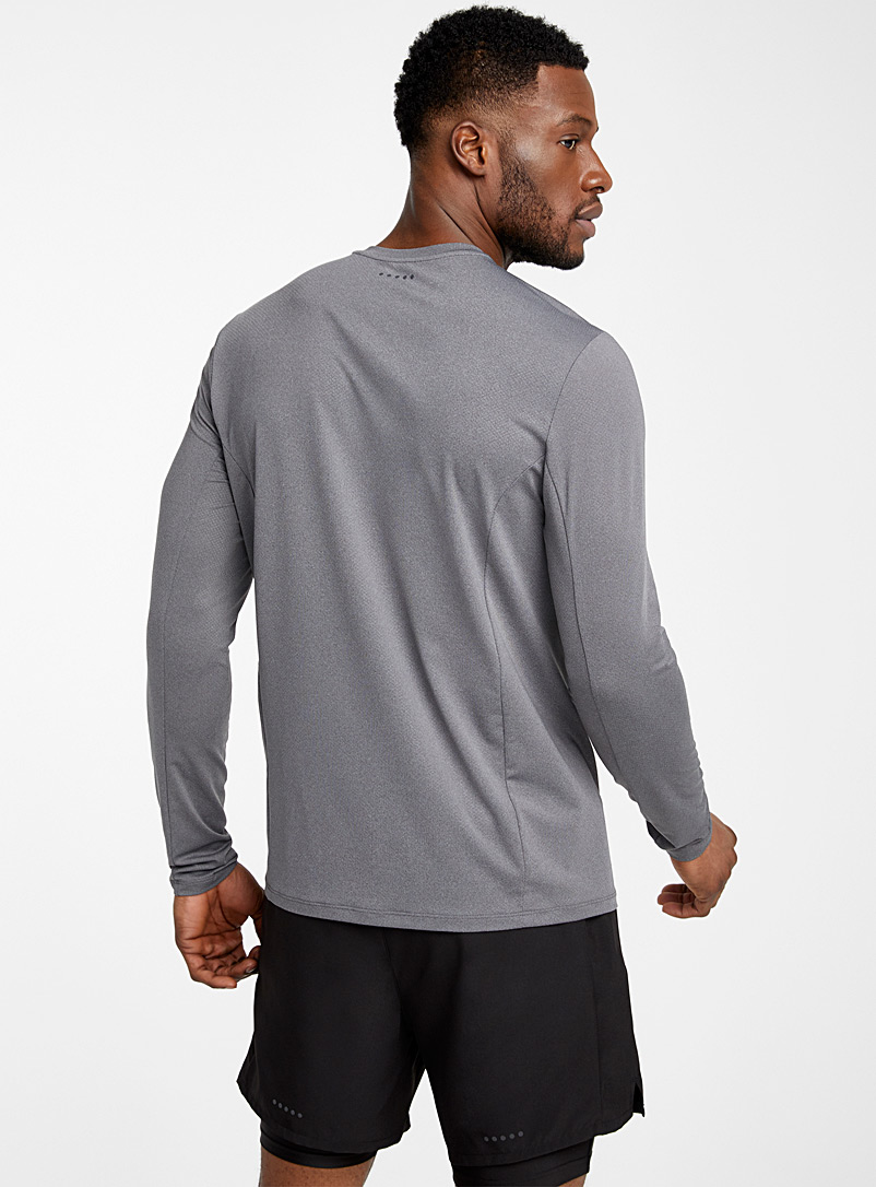 I.FIV5 Patterned Grey Micro-perforated logo recycled polyester tee for men