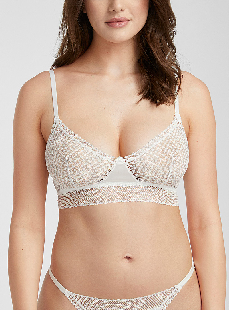 Else Ivory White Bella longline bralette for women