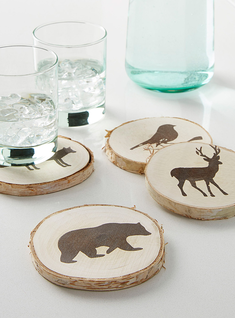 Animals on logs coasters  Set of 4 - Trivets & Coasters - Assorted