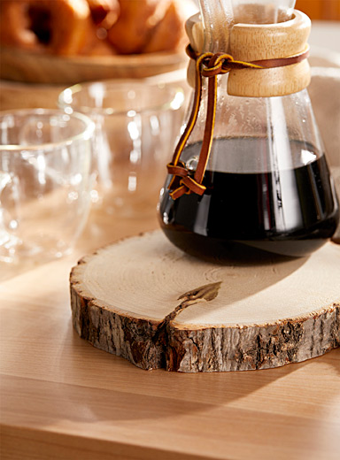 Wooden log trivet <br>18 x 2.6 cm
