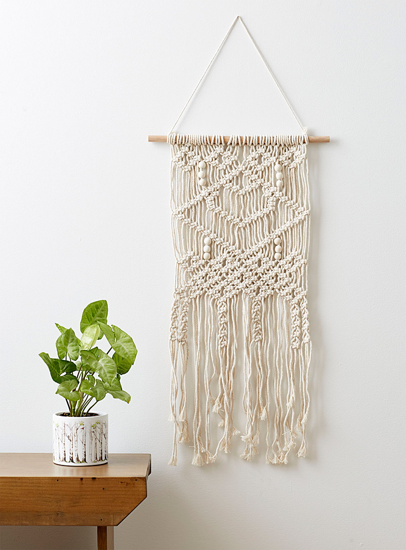 Simons Maison Ivory White Macramé and bead wall hanging