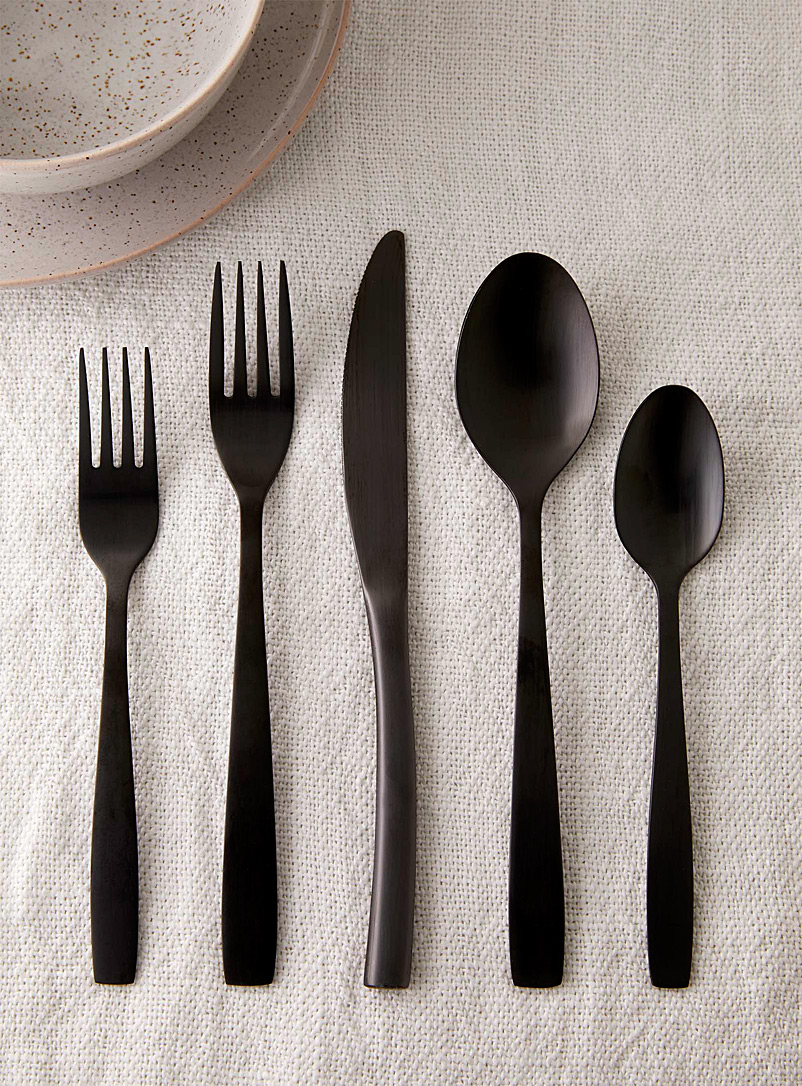 Matte black decorative utensils  Set of 5 - Dinnerware & Utensils - Black