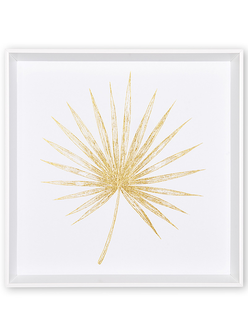 Golden palm frond fan wall art  16.5&quote; x 16.5&quote; - Art - Patterned White
