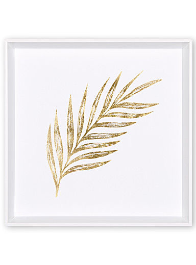 Golden palm frond feather wall art <br>16.5