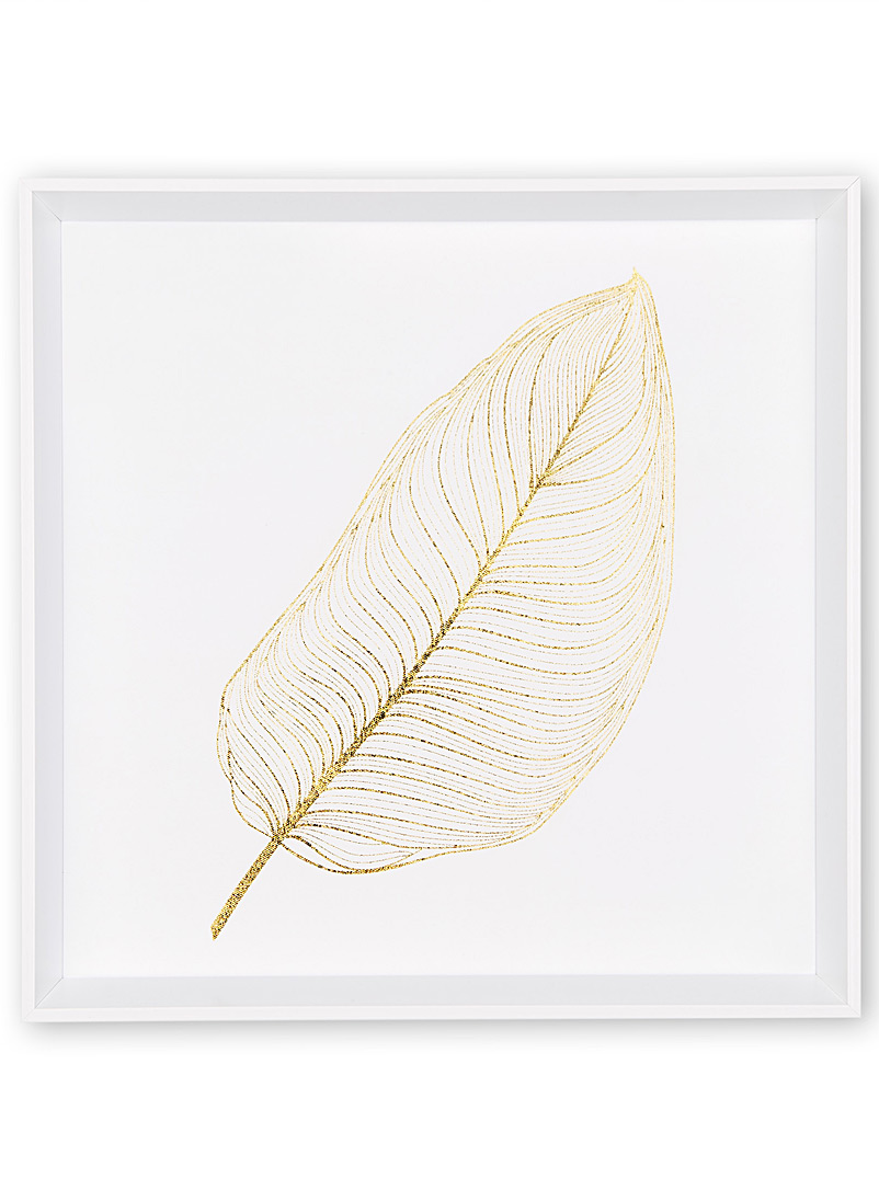 Gold banana leaf canvas print  16.5&quote; x 16.5&quote; - Nature - Patterned White
