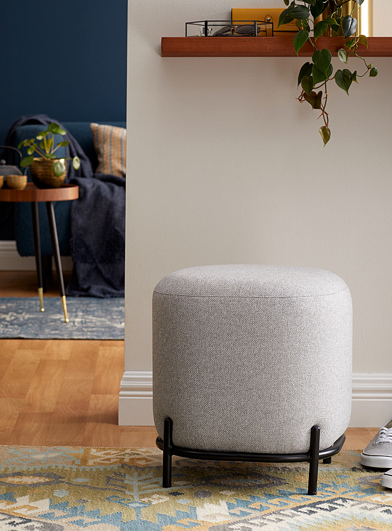 Torre & Tagus Light Grey Modern upholstered stool