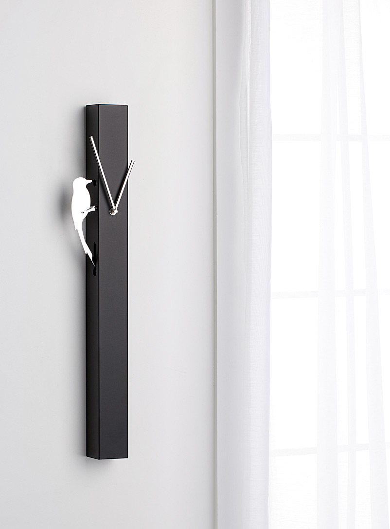 Torre & Tagus Black Moving woodpecker clock